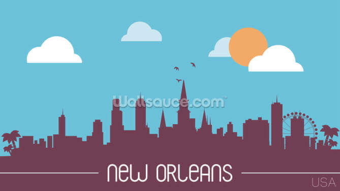New Orleans Skyline Illustration Wallpaper Wall Murals