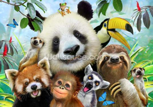 Zoo Selfie Wallpaper Wall Murals