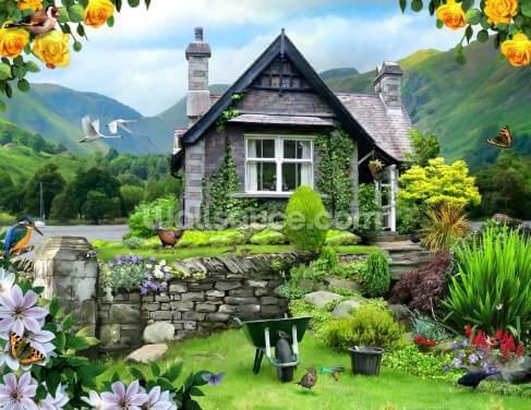 Lakeland cottage Wallpaper Wall Murals