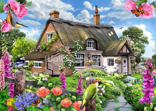 Foxglove cottage Wallpaper Wall Murals