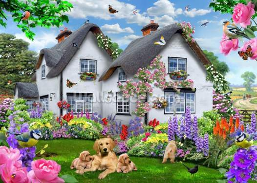 Delphinium Cottage Wallpaper Wall Murals