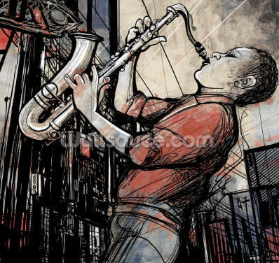 Street Saxophone Player Wallpaper Wall Murals
