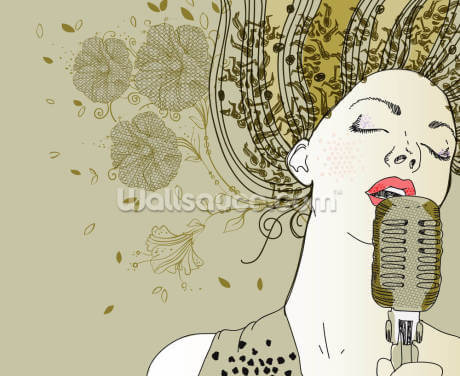 Female Jazz Singer Wallpaper Wall Murals