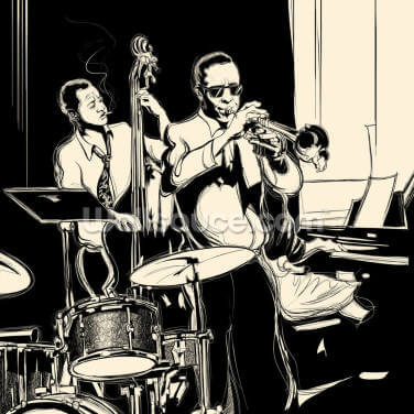 Jazz Black & White Wallpaper Wall Murals