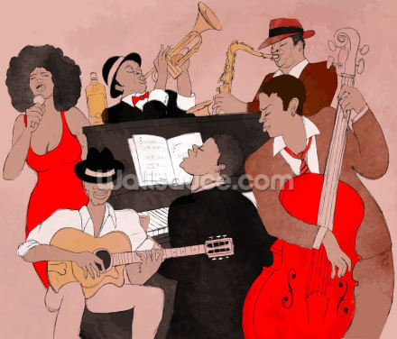 Funky Jazz Band Wallpaper Wall Murals