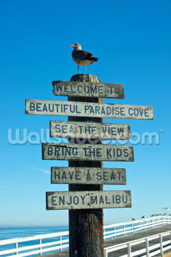 Welcome to Malibu Sign Wallpaper Wall Murals