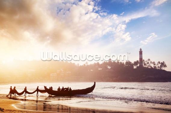 Fishermen in India Wallpaper Wall Murals