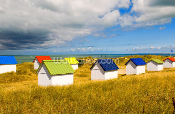 Windswept Beach Huts Wallpaper Wall Murals