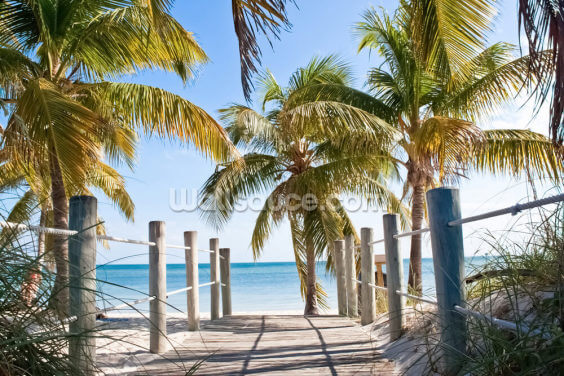 Key West Boardwalk to the Beach Wallpaper Wall Murals