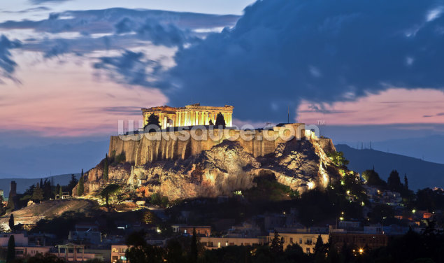 The Acropolis at Night, Athens Wallpaper Wall Murals