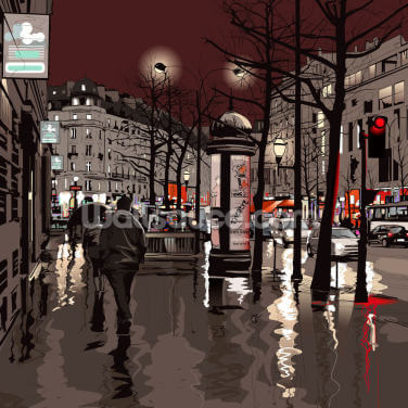 Paris in the Rain Wallpaper Wall Murals