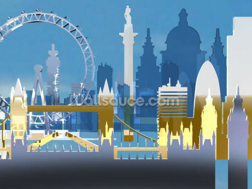 London Skyline Illustration Wallpaper Wall Murals