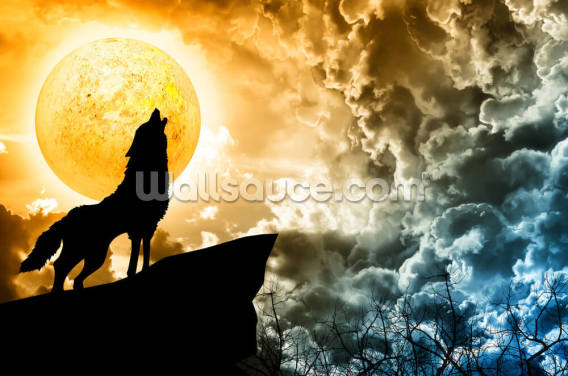 Wolf Howling in Silhouette Wallpaper Wall Murals