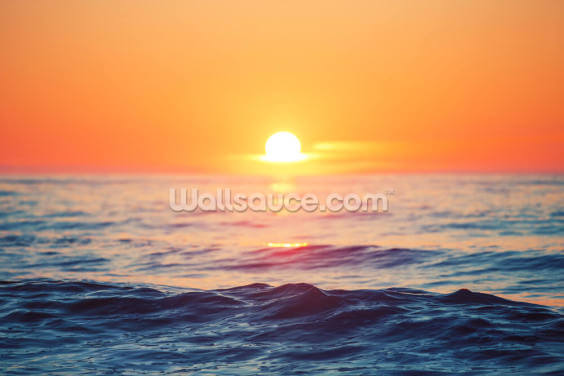 Orange Sunrise at Sea Wallpaper Wall Murals
