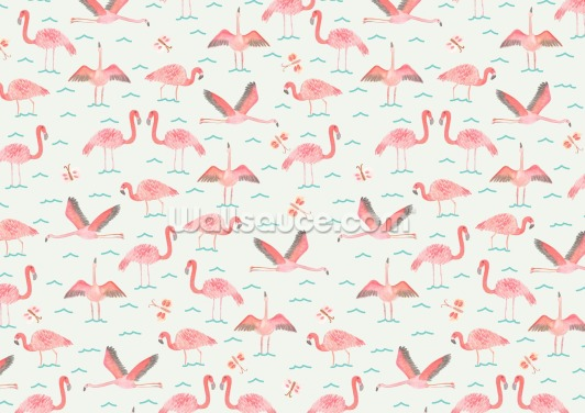 Flamingos Wallpaper Wall Murals