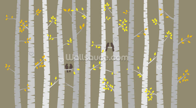 Birch Tree Love Birds Wallpaper Wall Murals