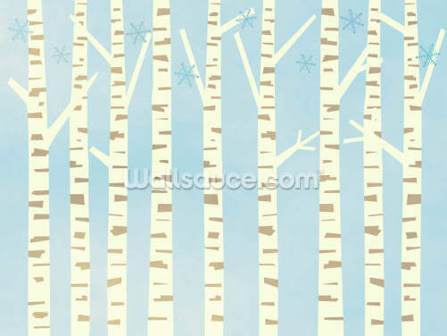 Winter Birch Blue Forest Wallpaper Wall Murals