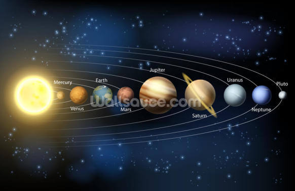 Sun and Planets of the Solar System Wallpaper Wall Murals