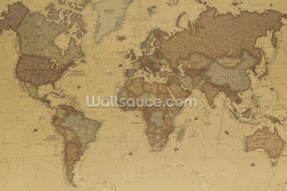 Rustic World Map Wallpaper Wall Murals