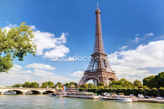 Eiffel Tower & River Seine Wallpaper Wall Murals
