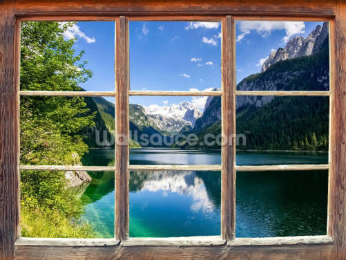 Lake and Mountain View Window Wallpaper Wall Murals