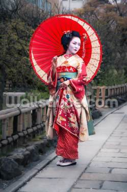 Japanese Geisha in Kyoto Wallpaper Wall Murals