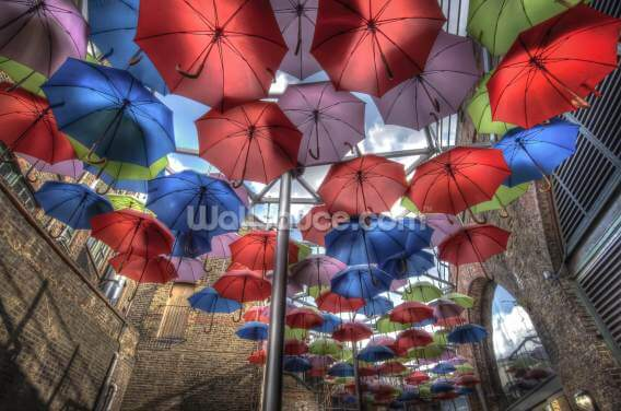 London Umbrella Art Wallpaper Wall Murals