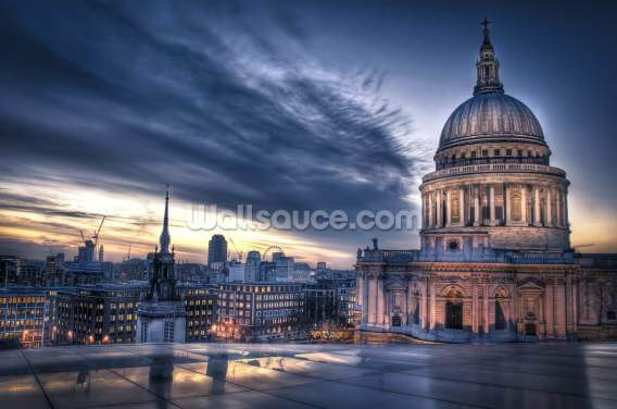 Night falls over St. Paul's Cathedral, London Wallpaper Wall Murals