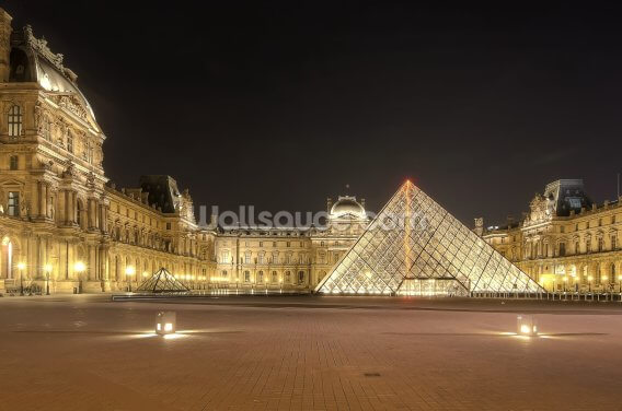 The Louvre at Night Wallpaper Wall Murals
