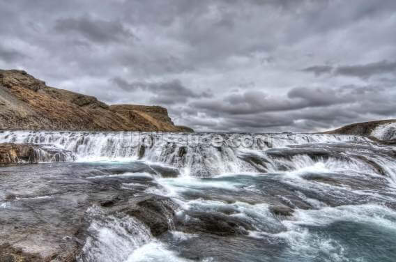 The River Flows to Gulfoss Falls, Iceland Wallpaper Wall Murals