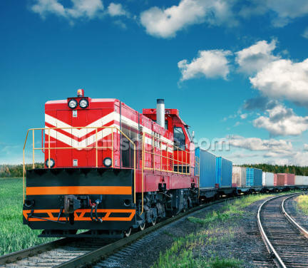 Red Freight Train Wallpaper Wall Murals