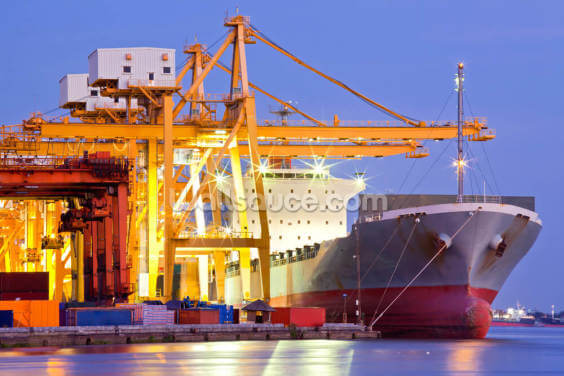 Dock Crane with Cargo Ship Wallpaper Wall Murals