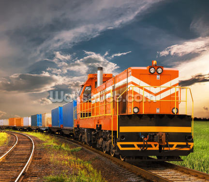 Orange Freight Train Wallpaper Wall Murals