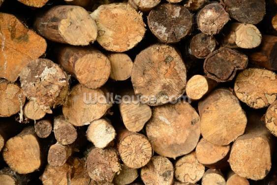 Log Pile Stack Wallpaper Wall Murals