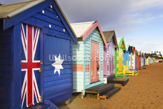 Brighton Beach Boxes Wallpaper Wall Murals