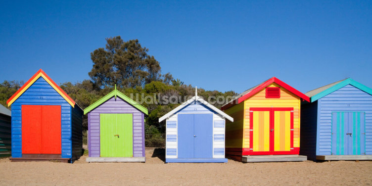 Brighton Beach Bathing Boxes Wallpaper Wall Murals