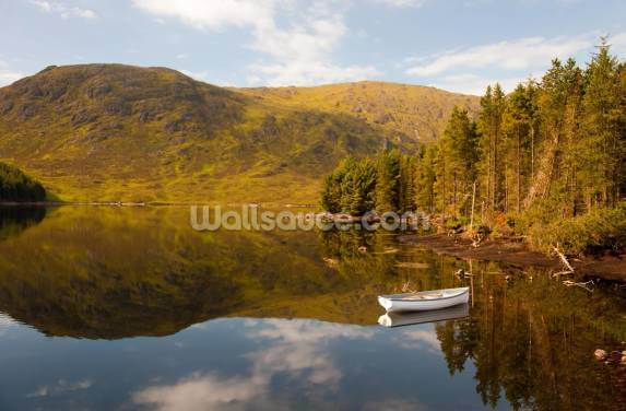Lonely Boat Lonely Loch Wallpaper Wall Murals