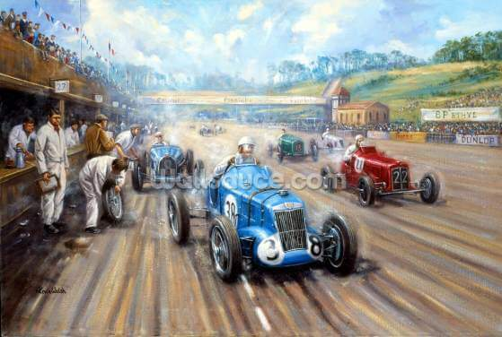 Back in the Race at Brooklands Wallpaper Wall Murals