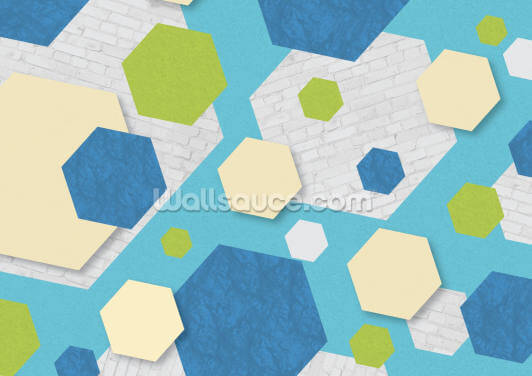 Hexagon Blue Green Wallpaper Wall Murals