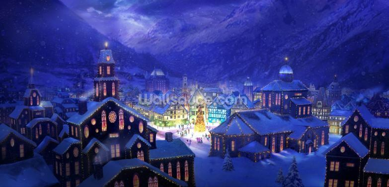 Christmas Town Wallpaper Wall Murals
