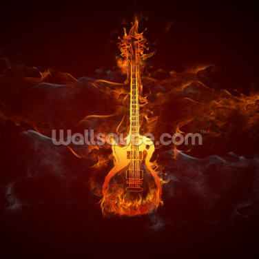 Fiery Guitar Wallpaper Wall Murals