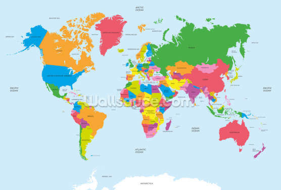 Political map of the World Wallpaper Wall Murals