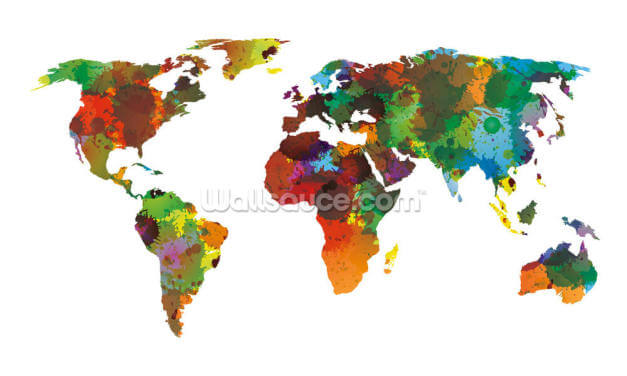 World Map Water Colours Wallpaper Wall Murals