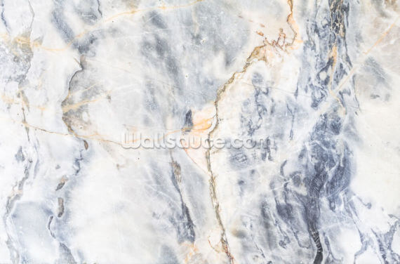 White and Blue Marble Effect Wallpaper Wall Murals