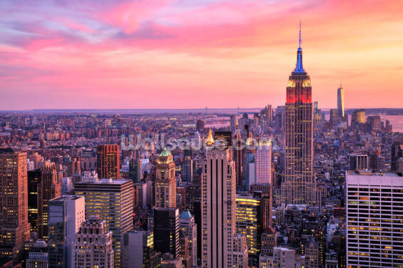 Empire State Pink Skies Wallpaper Wall Murals