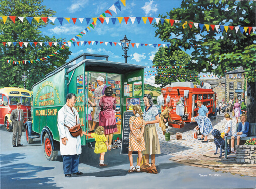Mobile Shops In The Market Place Wallpaper Wall Murals