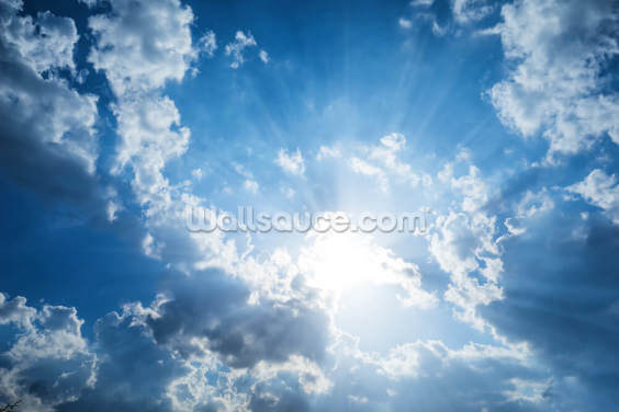 Beautiful Clouds and Blue Sky Wallpaper Wall Murals
