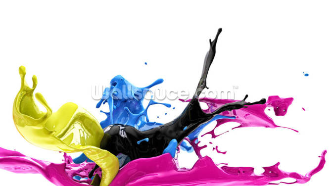 Color Splash CMYK Wallpaper Wall Murals
