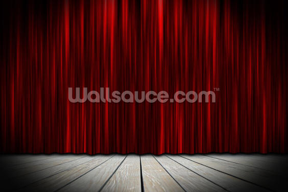 Theater Stage with Red Curtains in Spotlight Wallpaper Wall Murals