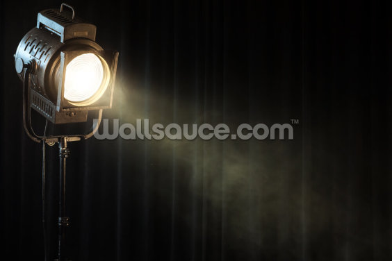 Vintage Theatre Spot Light on Black Curtain with Smoke Wallpaper Wall Murals